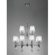 4960 dvoupatrový lustr s dvanácti látkovými stínítky, lesklý chrom - bílá, 12x CF max. 15W + 12x G9/ max. 40W