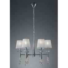 4961 elegantní lustr s šesti látkovými stínítky, lesklý chrom - bílá, 6x CF max. 13W + 6x G9/ max. 40W