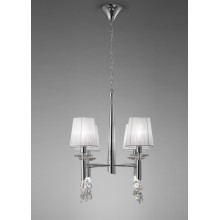 4962 elegantní závěsné svítidlo se čtyřmi látkovými stínítky, lesklý chrom - bílá, 4x CF max. 13W + 4x G9/ max. 40W