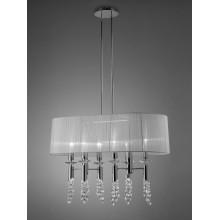 4963 elegantní lustr se stínidlem z bílého textilu, lesklý chrom - bílá, 6x CF max. 13W + 6x G9/ max. 40W
