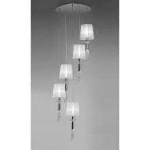 4967 elegantní svítidlo s pěti zavěšenými látkovými stínidly, lesklý chrom - bílá, 5x CF max. 13W + 5x G9/max. 40W
