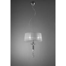 4968 elegantní závěsné svítidlo s bílým látkovým stínidlem, lesklý chrom - bílá, 3x CF E27/max. 13W + 1x G9/max. 40W