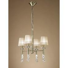 4982 elegantní závěsné svítidlo se čtyřmi látkovými stínítky, antická mosaz, 4x CF E14/max. 13W + 4x G9/max. 33W