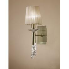 4994 nástěnné svítidlo s látkovým stínítkem, antická mosaz, 1x CF E14/max. 13W + 1x G9/33W