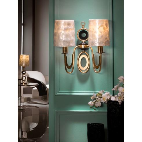 716208 dvouramenné nástěnné svítidlo s perleťovými stínidly, zlatá, 2x E27/ max. 60W