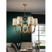 716620 zlatý lustr s šesti stínidly perleťové barvy, 6x E27/ CF max. 20W