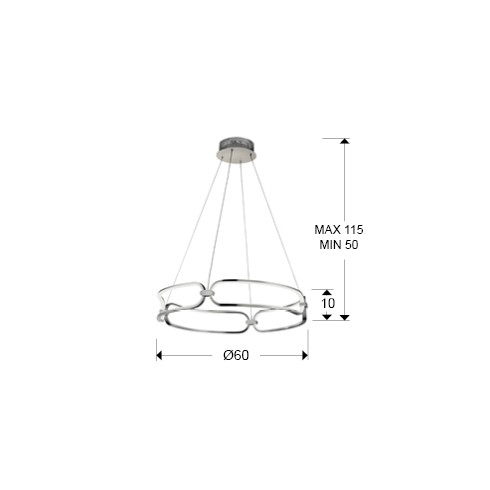 786831 závěsné svítidlo, chrom, LED 54W - 3000K - 4860lm